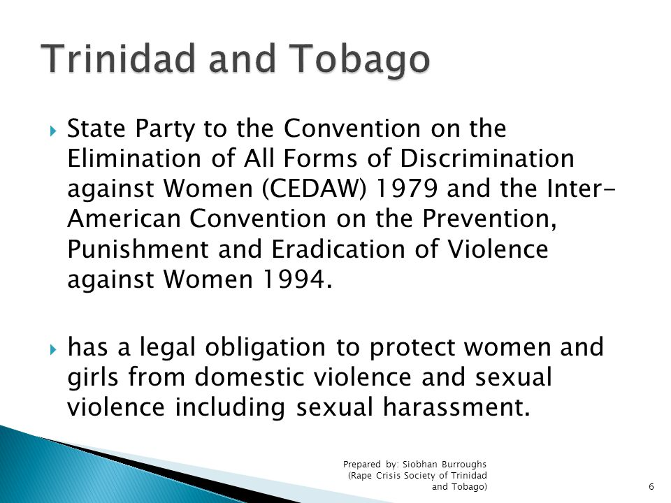  State Party to the Convention on the Elimination of All Forms of Discrimination against Women (CEDAW) 1979 and the Inter- American Convention on the