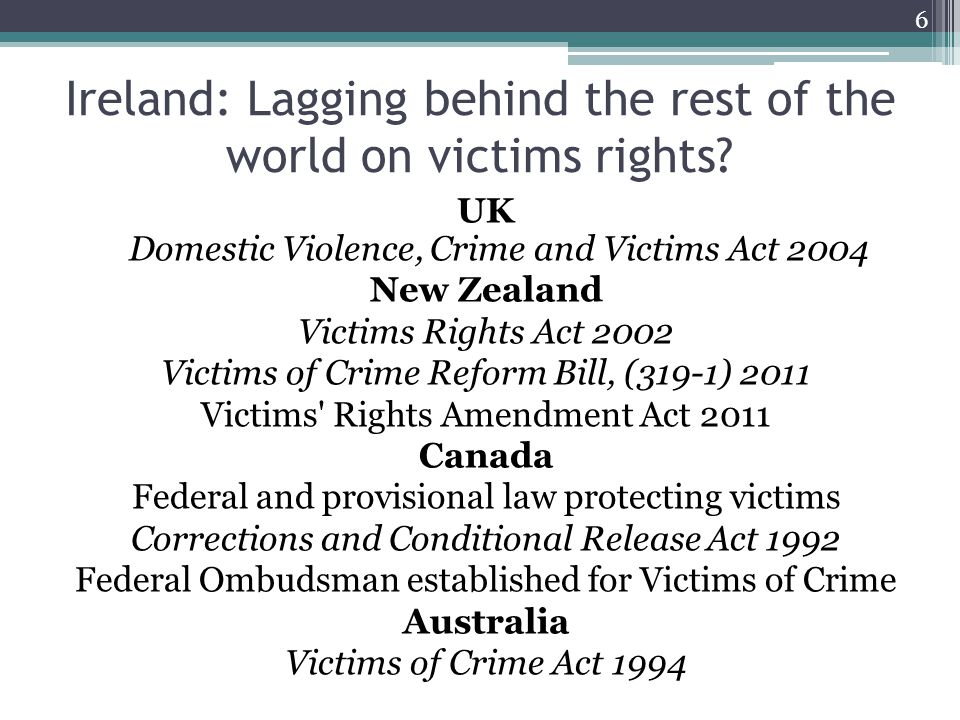 Ireland: Lagging behind the rest of the world on victims rights.