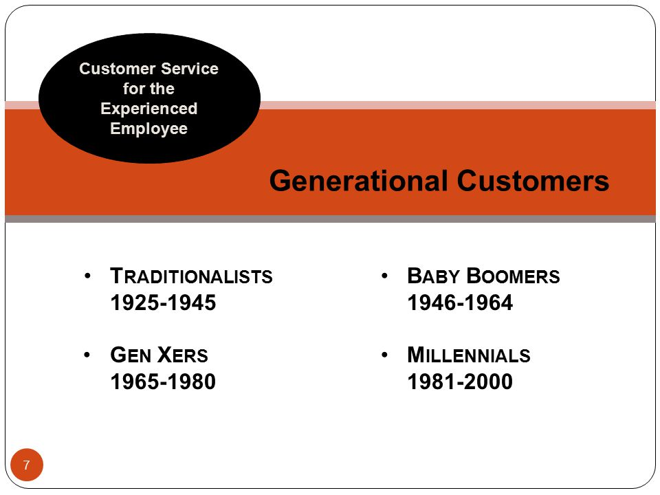 Generational Customers Customer Service for the Experienced Employee T RADITIONALISTS 1925-1945 G EN X ERS 1965-1980 7 B ABY B OOMERS 1946-1964 M ILLENNIALS 1981-2000