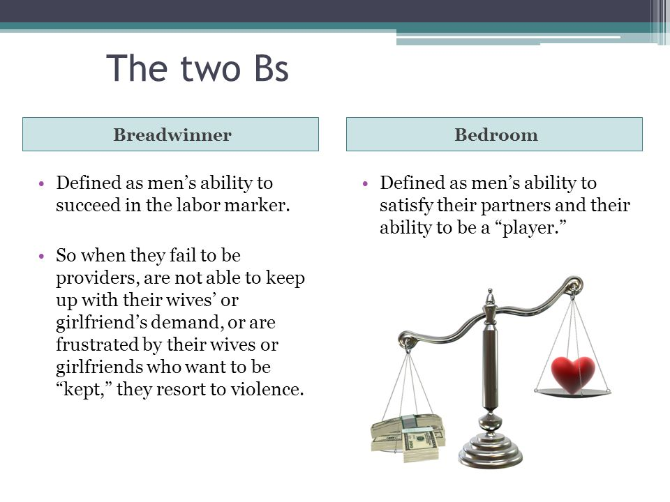 The two Bs BreadwinnerBedroom Defined as men's ability to succeed in the labor marker.