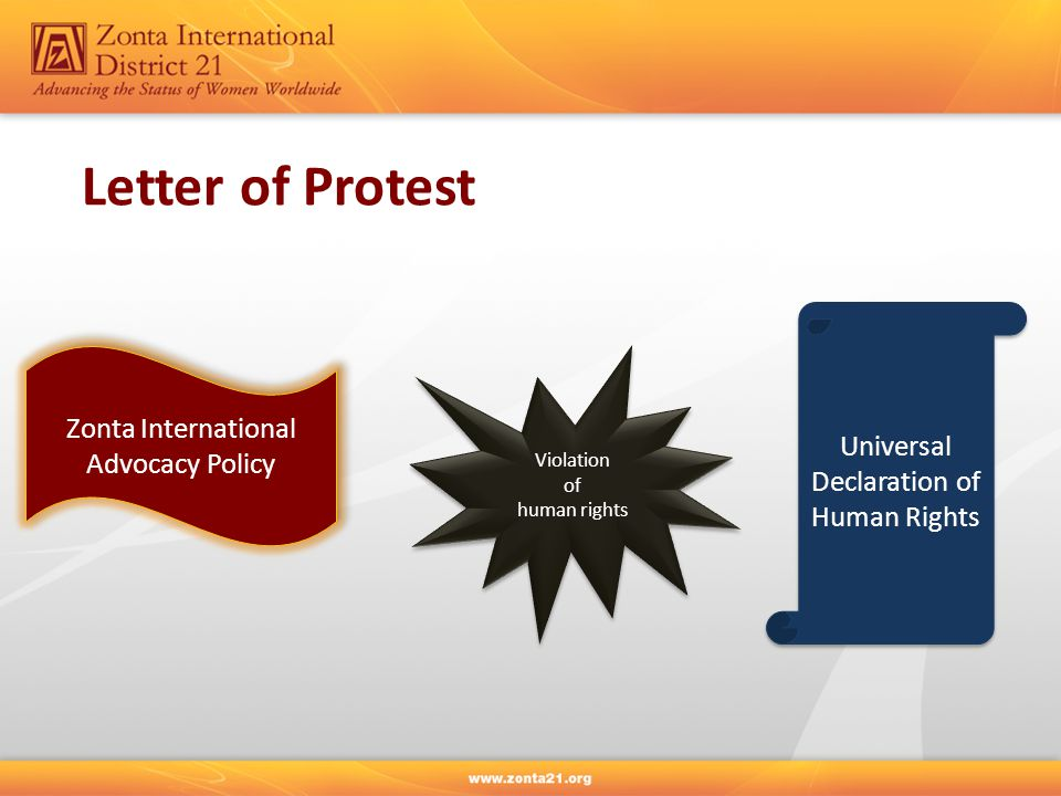 Violation of human rights Violation of human rights Zonta International Advocacy Policy Zonta International Advocacy Policy Universal Declaration of Human Rights Letter of Protest