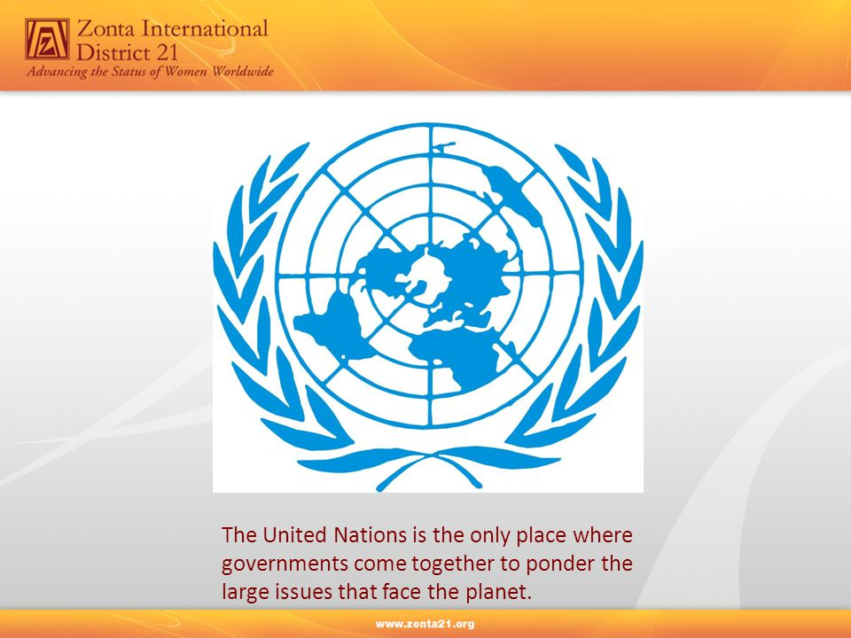 The United Nations is the only place where governments come together to ponder the large issues that face the planet.