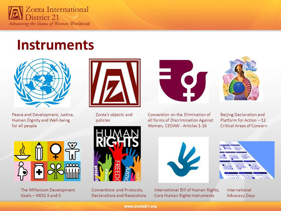 Instruments Zonta's objects and policies Peace and Development, Justice, Human Dignity and Well-being for all people Convention on the Elimination of all forms of Discrimination Against Women, CEDAW - Articles 1-16 Beijing Declaration and Platform for Action – 12 Critical Areas of Concern The Millenium Development Goals – MDG 3 and 5 Conventions and Protocols, Declarations and Resolutions International Bill of Human Rights, Core Human Rights Instruments International Advocacy Days