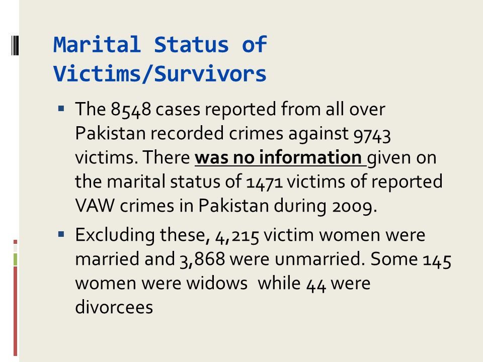 Marital Status of Victims/Survivors  The 8548 cases reported from all over Pakistan recorded crimes against 9743 victims. There was no information gi