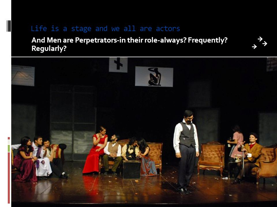 Life is a stage and we all are actors And Men are Perpetrators-in their role-always? Frequently? Regularly?