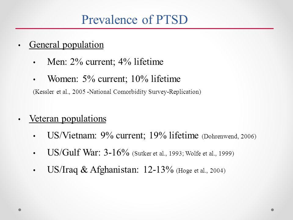 Prevalence of PTSD General population Men: 2% current; 4% lifetime Women: 5% current; 10% lifetime (Kessler et al., 2005 -National Comorbidity Survey-Replication) Veteran populations US/Vietnam: 9% current; 19% lifetime (Dohrenwend, 2006) US/Gulf War: 3-16% (Sutker et al., 1993; Wolfe et al., 1999) US/Iraq & Afghanistan: 12-13% (Hoge et al., 2004)