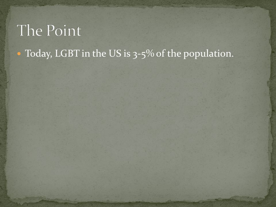 Today, LGBT in the US is 3-5% of the population.