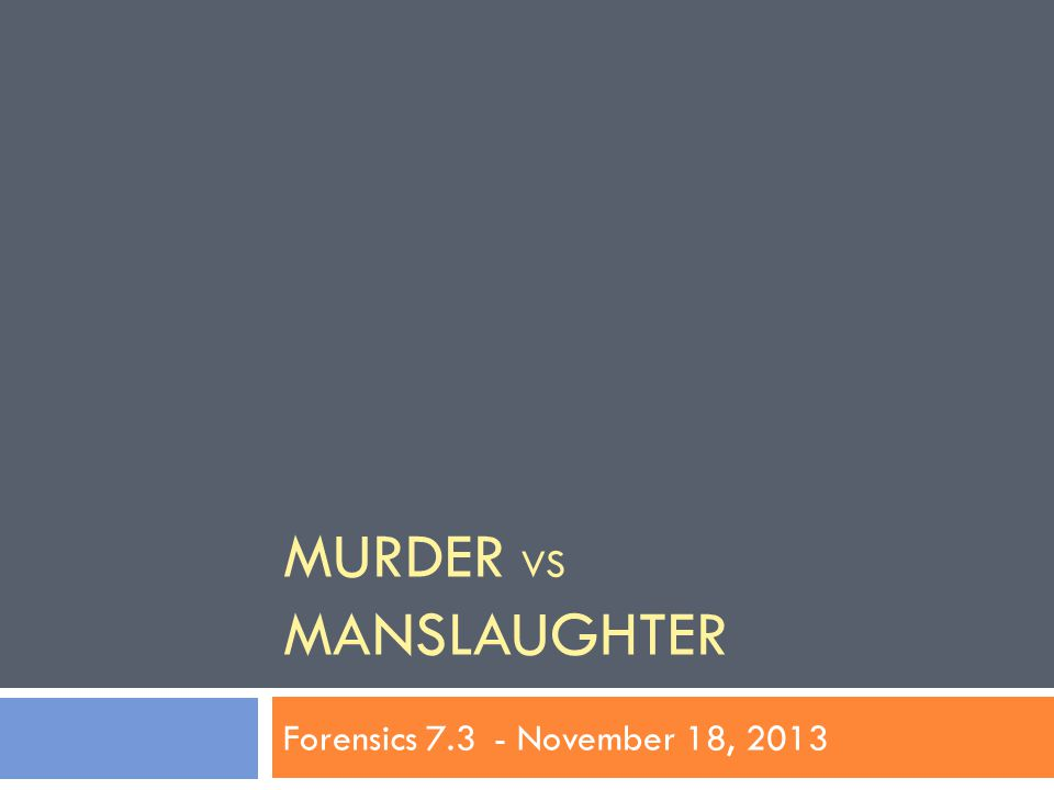 Objectives: SWBAT  Review and debrief: CASE STUDY  Review Freakonomics: Assignment 1  Examine the distinction between Murder and Manslaughter