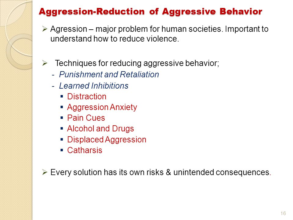 16  Agression – major problem for human societies.