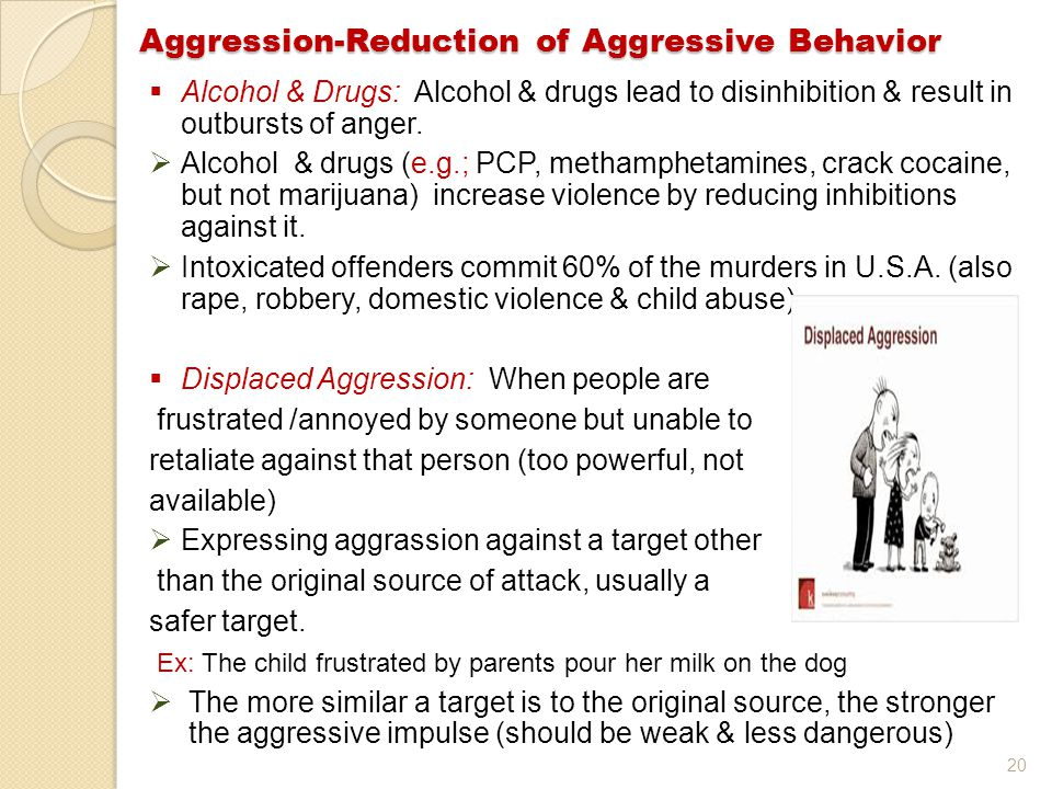 20  Alcohol & Drugs: Alcohol & drugs lead to disinhibition & result in outbursts of anger.