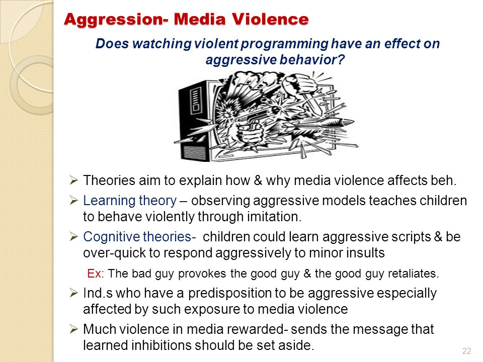 22 Does watching violent programming have an effect on aggressive behavior.