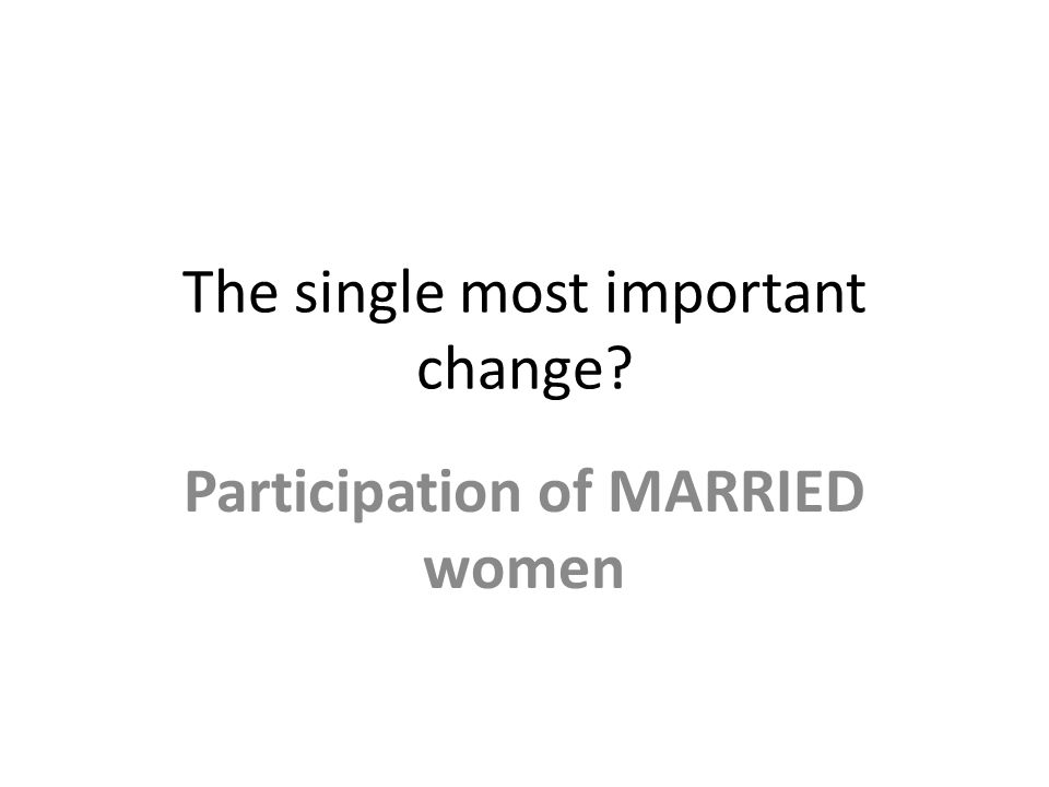 The single most important change Participation of MARRIED women