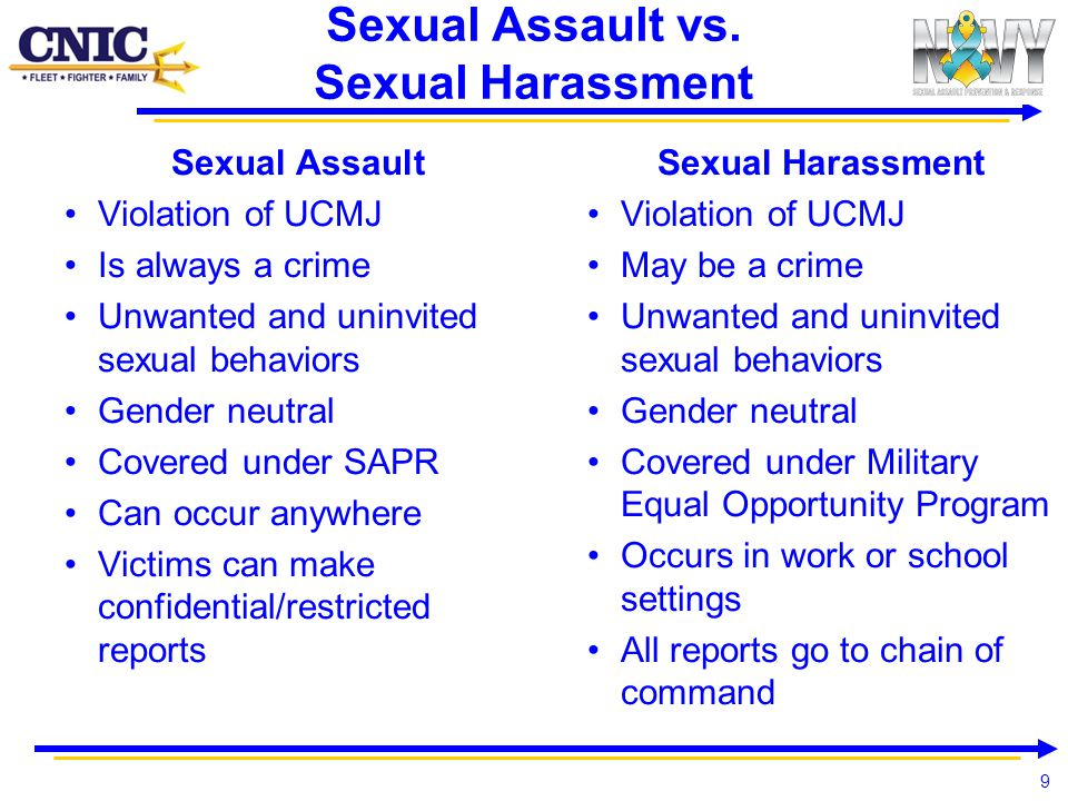 9 Sexual Assault vs. Sexual Harassment Sexual Assault Violation of UCMJ Is always a crime Unwanted and uninvited sexual behaviors Gender neutral Cover