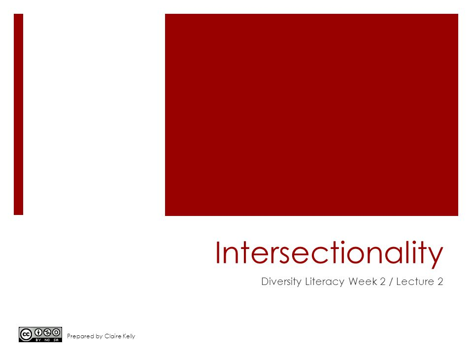Intersectionality Diversity Literacy Week 2 / Lecture 2 Prepared by Claire Kelly