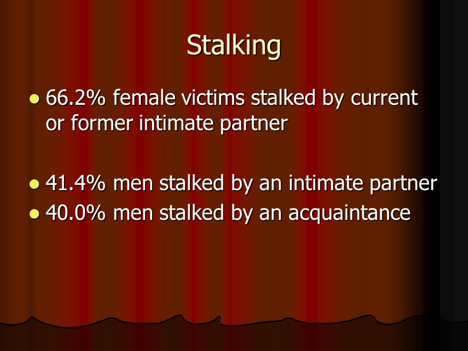 Stalking 66.2% female victims stalked by current or former intimate partner 66.2% female victims stalked by current or former intimate partner 41.4% m