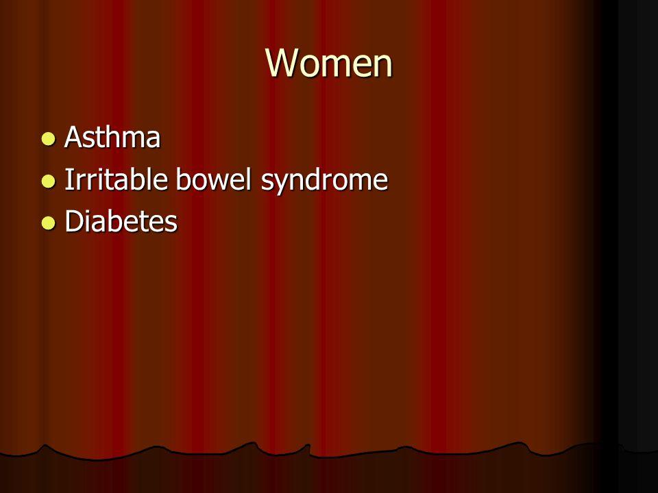 Women Asthma Asthma Irritable bowel syndrome Irritable bowel syndrome Diabetes Diabetes