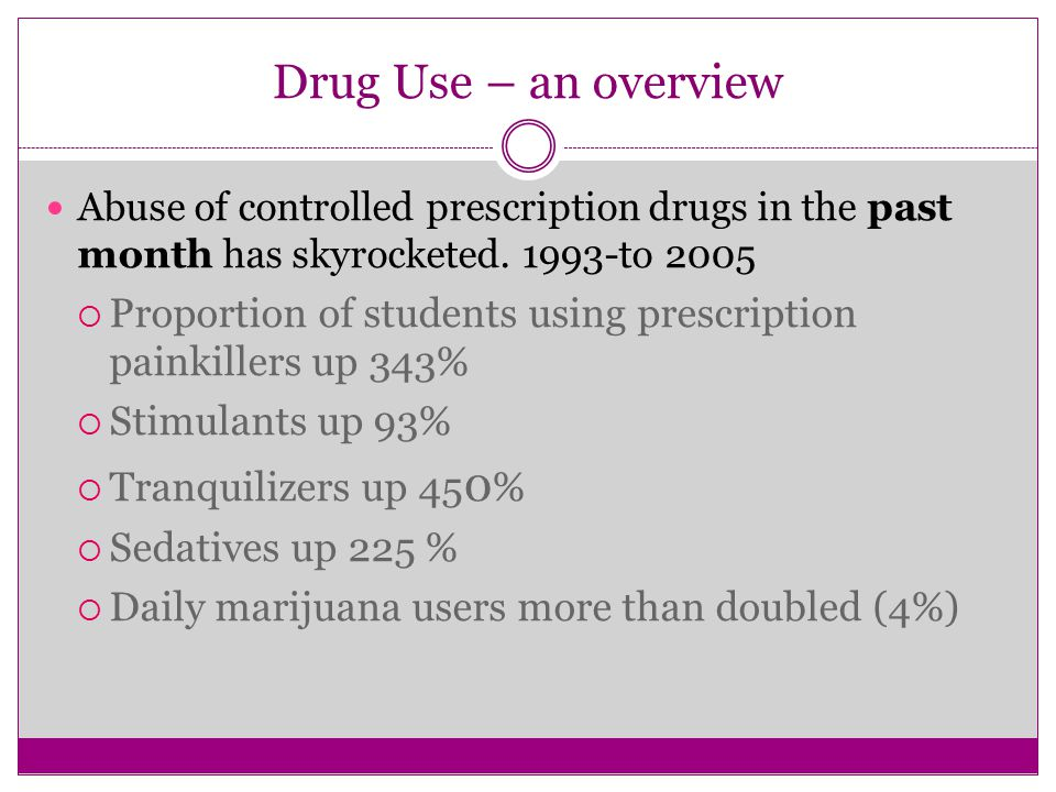 Drug Use – an overview Abuse of controlled prescription drugs in the past month has skyrocketed.