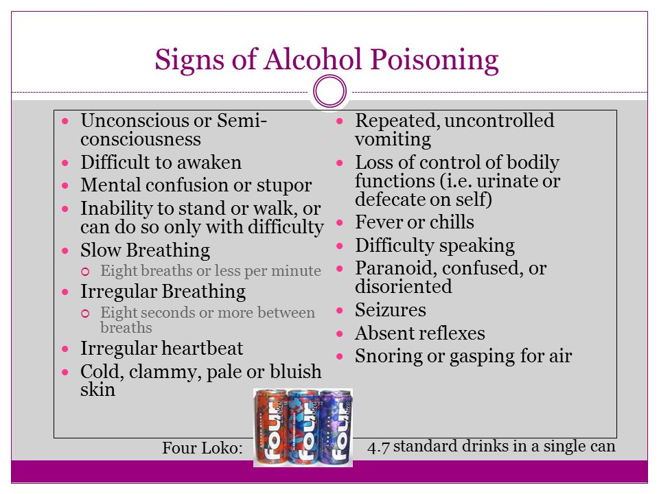 Signs of Alcohol Poisoning Unconscious or Semi- consciousness Difficult to awaken Mental confusion or stupor Inability to stand or walk, or can do so only with difficulty Slow Breathing  Eight breaths or less per minute Irregular Breathing  Eight seconds or more between breaths Irregular heartbeat Cold, clammy, pale or bluish skin Repeated, uncontrolled vomiting Loss of control of bodily functions (i.e.
