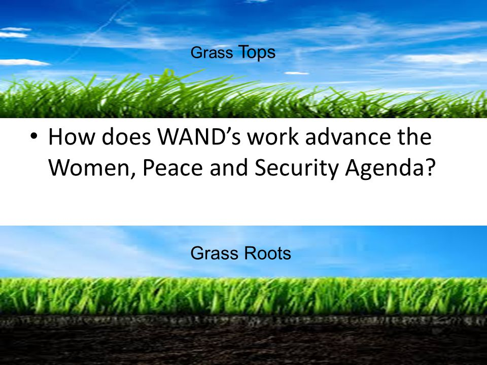 How does WAND's work advance the Women, Peace and Security Agenda? Grass Roots Grass Tops