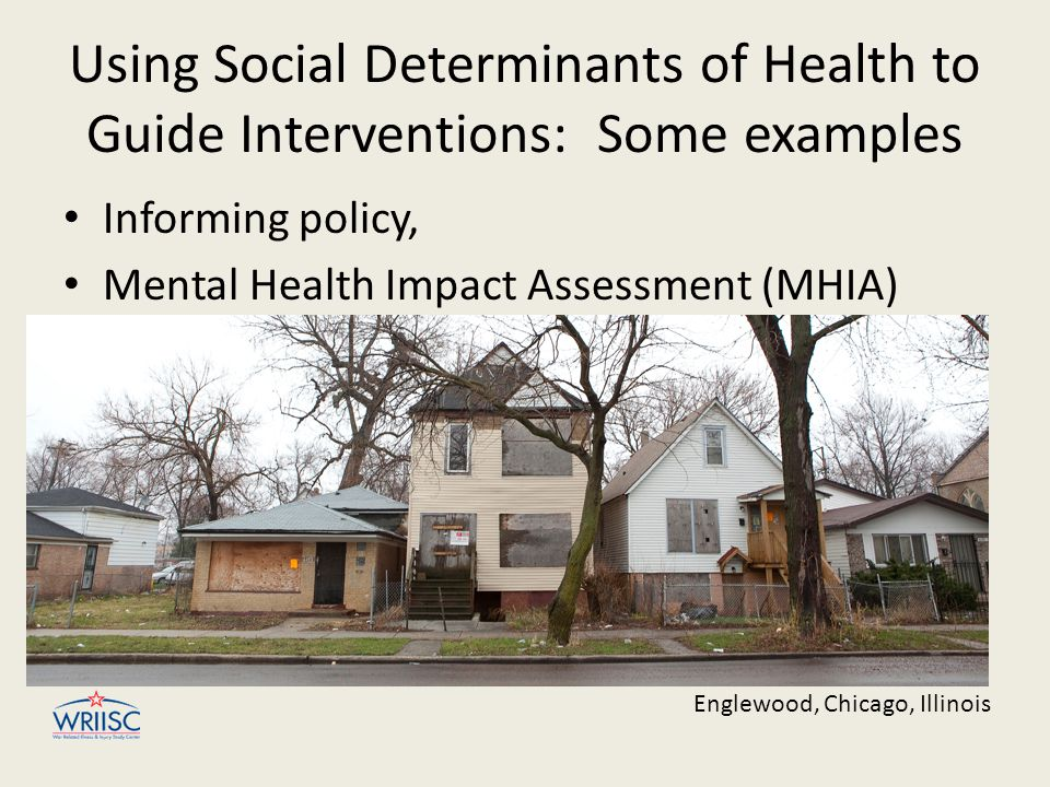Using Social Determinants of Health to Guide Interventions: Some examples Informing policy, Mental Health Impact Assessment (MHIA) Englewood, Chicago, Illinois