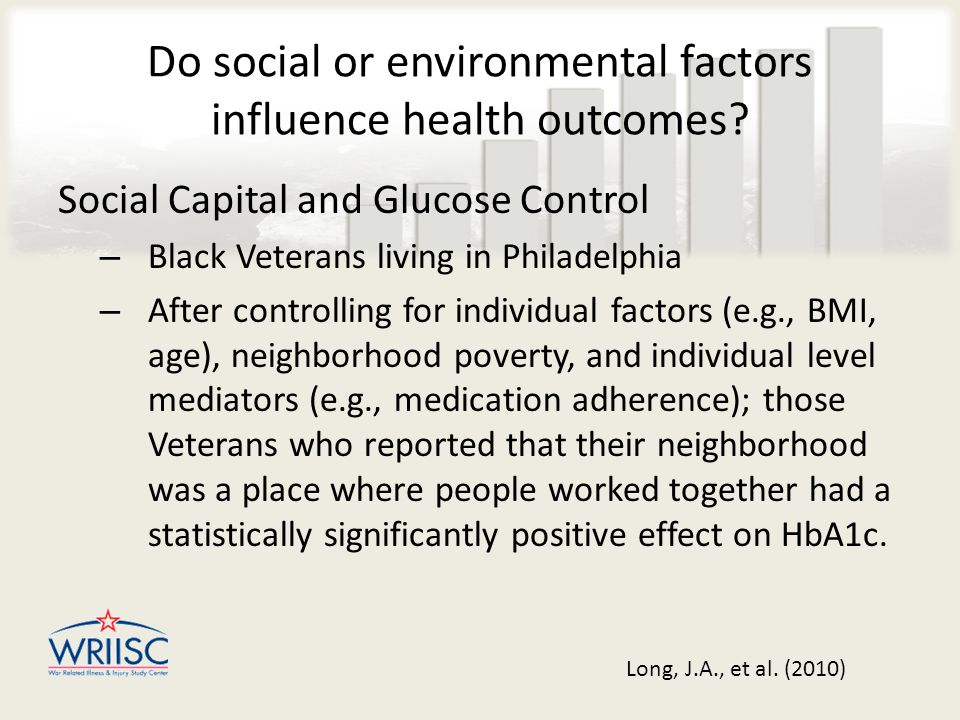 Do social or environmental factors influence health outcomes.