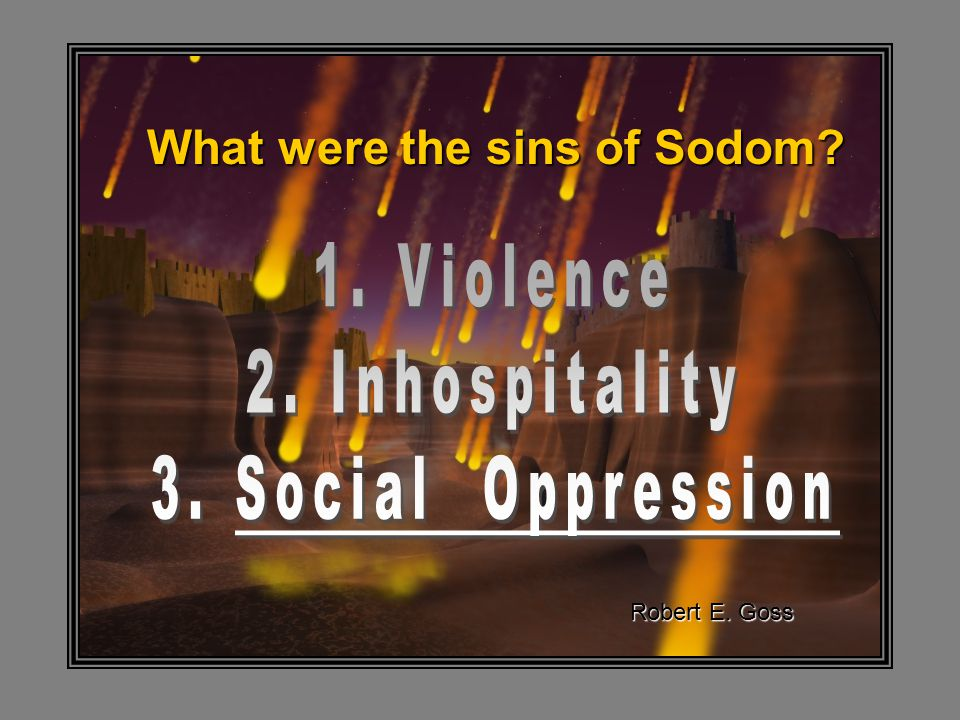 What were the sins of Sodom Robert E. Goss