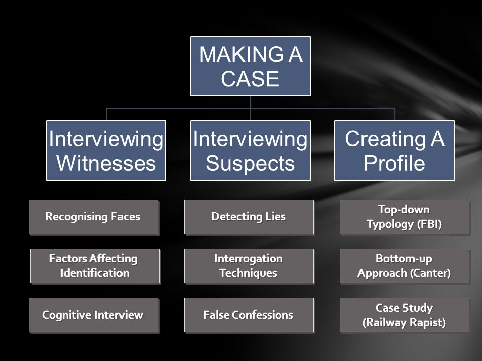 MAKING A CASE Interviewing Witnesses Interviewing Suspects Creating A Profile Recognising Faces