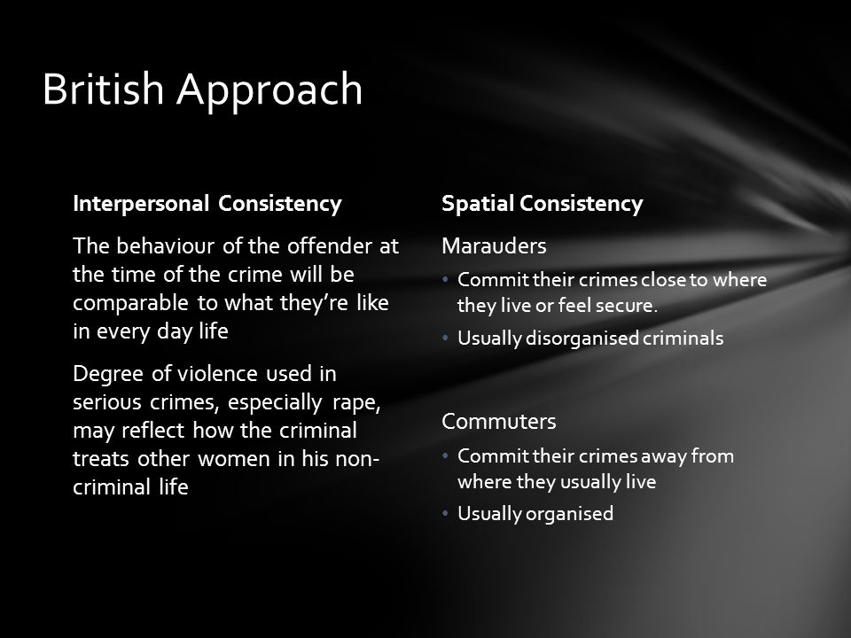 British Approach Interpersonal Consistency The behaviour of the offender at the time of the crime will be comparable to what they're like in every day