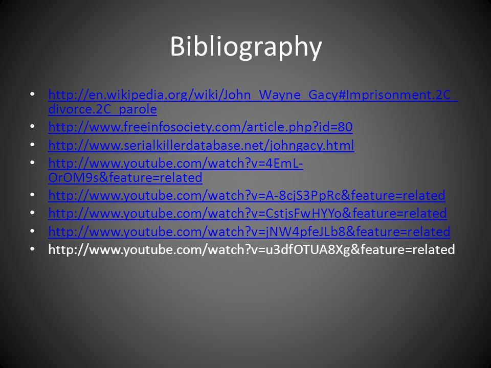 Bibliography http://en.wikipedia.org/wiki/John_Wayne_Gacy#Imprisonment.2C_ divorce.2C_parole http://en.wikipedia.org/wiki/John_Wayne_Gacy#Imprisonment