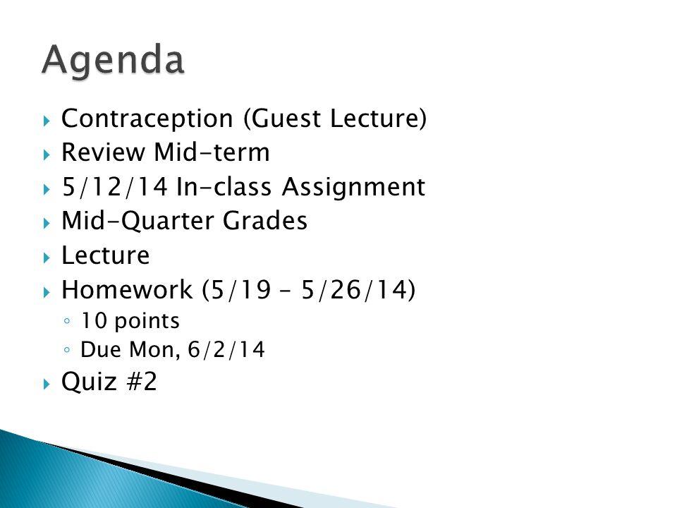 DateAssignmentPossible Points 4/14/14In-Class #110 4/21/14Quiz #125 4/28/14In-Class #210 5/5/14Mid-term100 5/12/14In-Class #310 Total Possible Points (through 5/12/14) 155 5/19/14Quiz #225 6/2/14In-Class #410 5/9/14 - 6/2/14 Homework (due 6/2/14)10 6/9/14Final Exam200