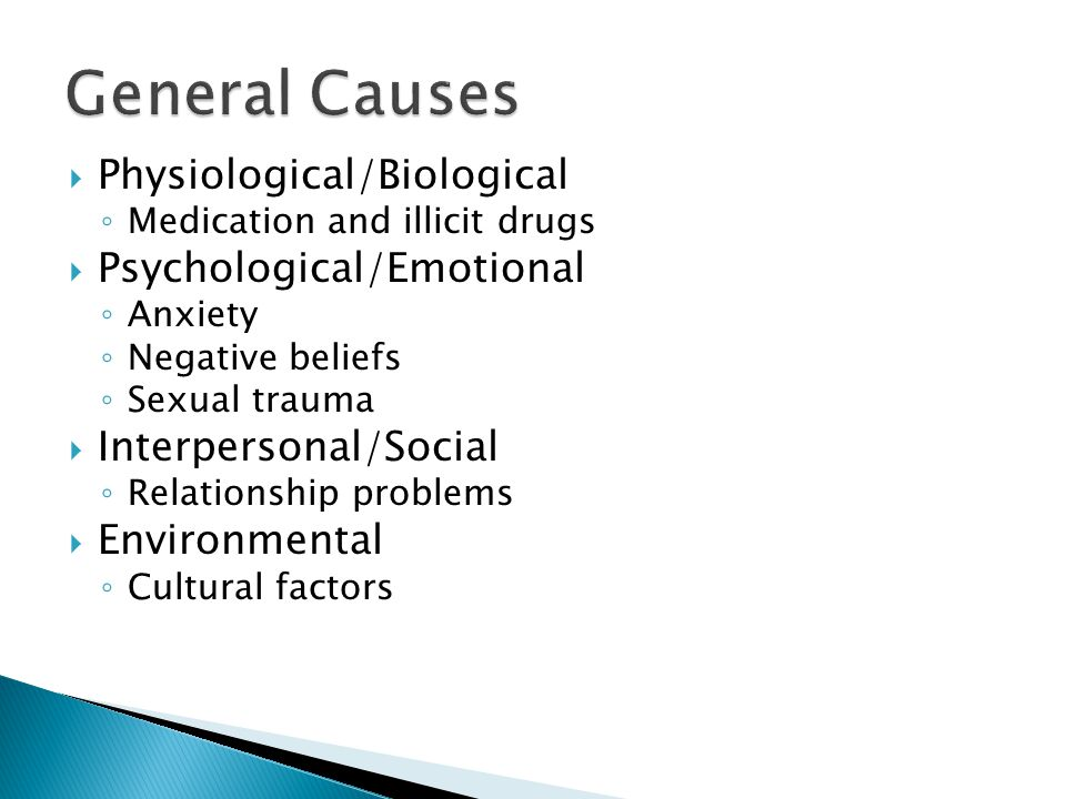  Physiological/Biological ◦ Medication and illicit drugs  Psychological/Emotional ◦ Anxiety ◦ Negative beliefs ◦ Sexual trauma  Interpersonal/Social ◦ Relationship problems  Environmental ◦ Cultural factors