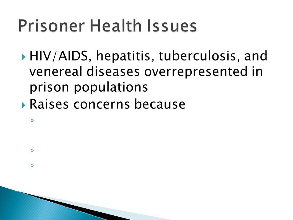  HIV/AIDS, hepatitis, tuberculosis, and venereal diseases overrepresented in prison populations  Raises concerns because ◦ ◦ ◦