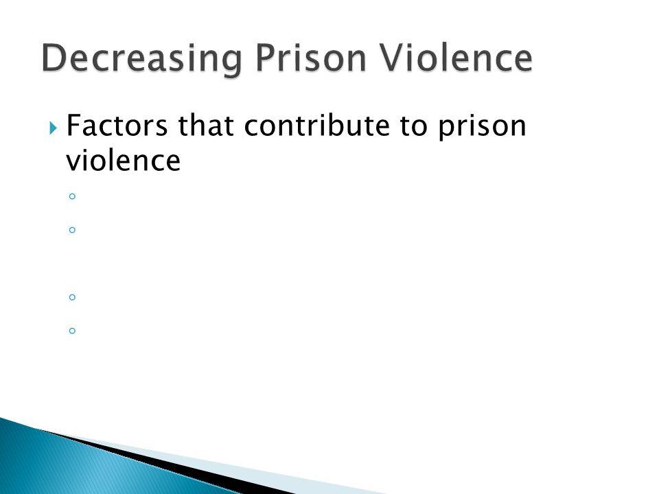  Factors that contribute to prison violence ◦ ◦ ◦ ◦