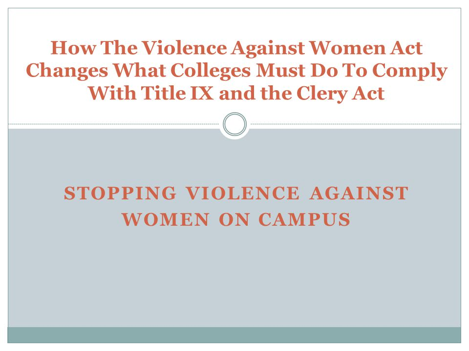 Background Four titles of VAWA : — Title I: Enhancing Judicial and Law Enforcement Tools to Combat Violence against Women.