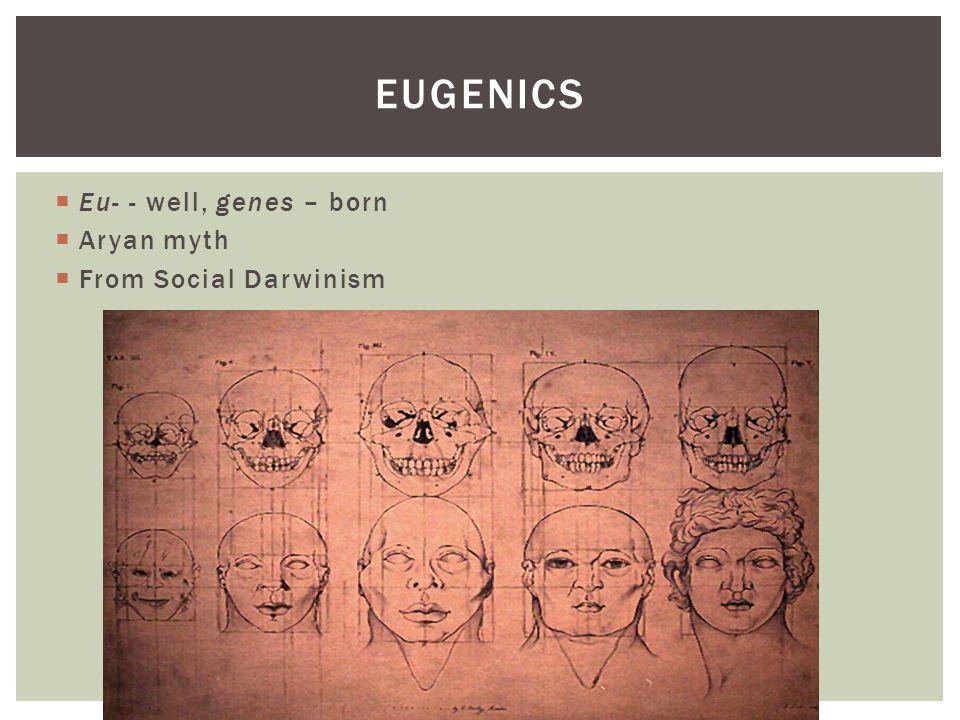 EUGENICS  Eu- - well, genes – born  Aryan myth  From Social Darwinism