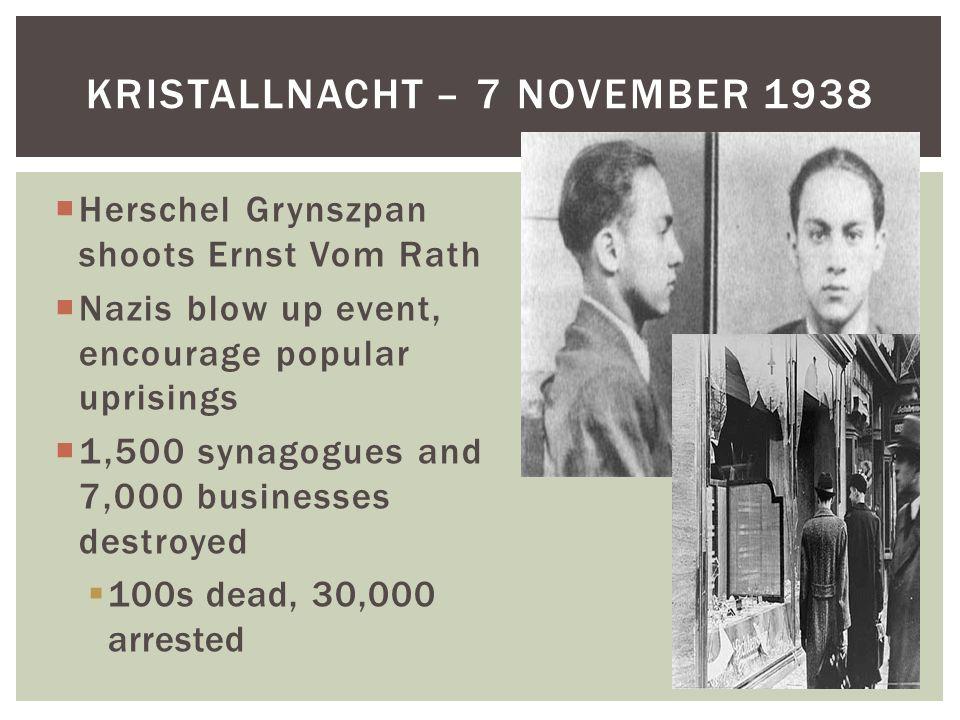 Herschel Grynszpan shoots Ernst Vom Rath  Nazis blow up event, encourage popular uprisings  1,500 synagogues and 7,000 businesses destroyed  100s dead, 30,000 arrested KRISTALLNACHT – 7 NOVEMBER 1938