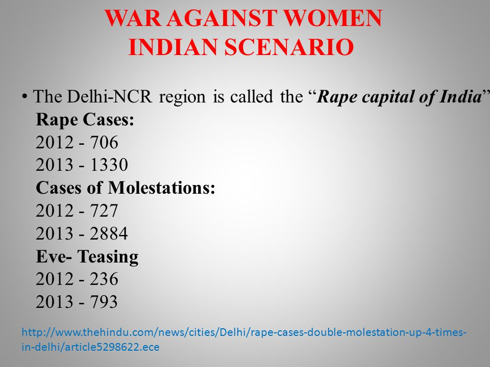 WAR AGAINST WOMEN INDIAN SCENARIO The Delhi-NCR region is called the Rape capital of India Rape Cases: 2012 - 706 2013 - 1330 Cases of Molestations: 2012 - 727 2013 - 2884 Eve- Teasing 2012 - 236 2013 - 793 http://www.thehindu.com/news/cities/Delhi/rape-cases-double-molestation-up-4-times- in-delhi/article5298622.ece