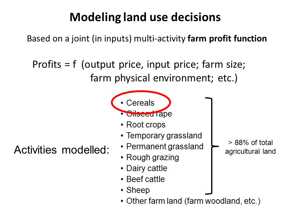 Modeling land use decisions Based on a joint (in inputs) multi-activity farm profit function Profits = f (output price, input price; farm size; farm physical environment; etc.) Cereals Oilseed rape Root crops Temporary grassland Permanent grassland Rough grazing Dairy cattle Beef cattle Sheep Other farm land (farm woodland, etc.) Activities modelled: > 88% of total agricultural land