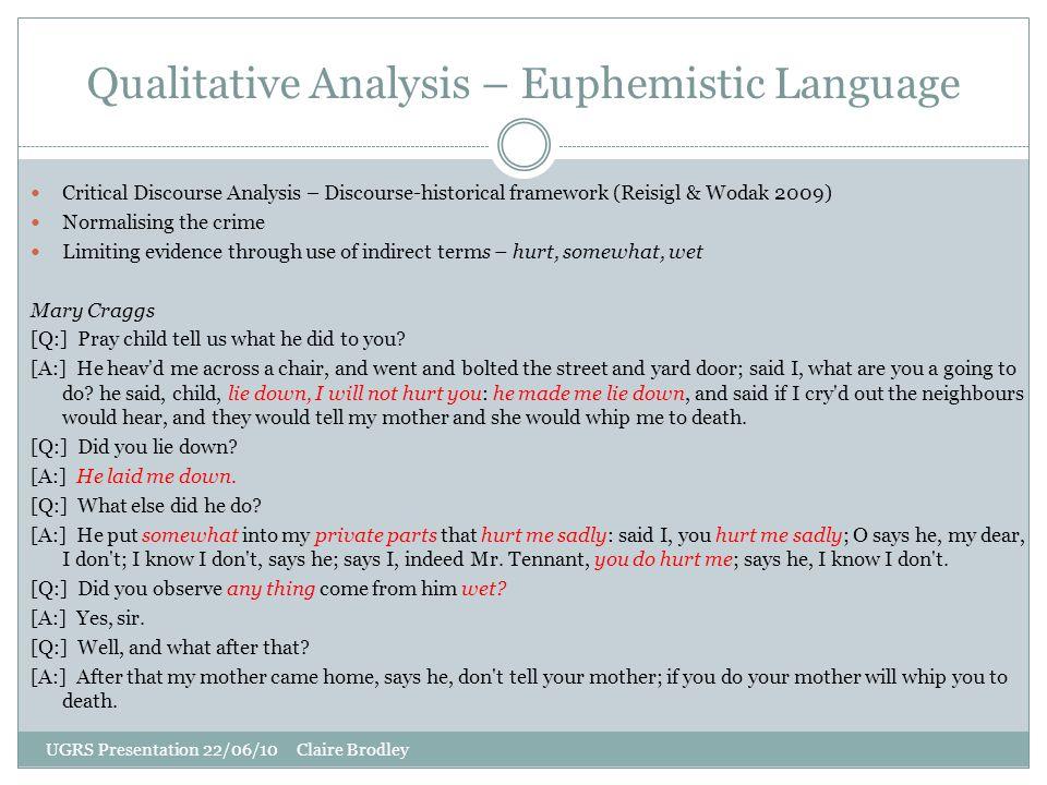 Qualitative Analysis – Euphemistic Language UGRS Presentation 22/06/10 Claire Brodley Critical Discourse Analysis – Discourse-historical framework (Re