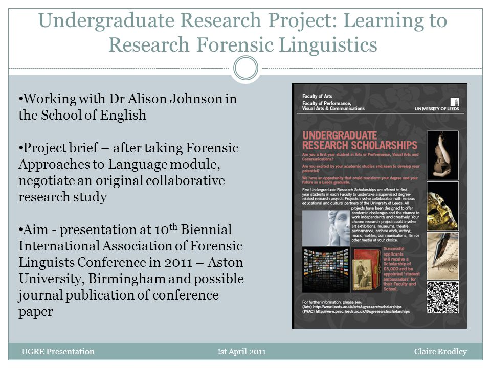 Undergraduate Research Project: Learning to Research Forensic Linguistics Working with Dr Alison Johnson in the School of English Project brief – afte