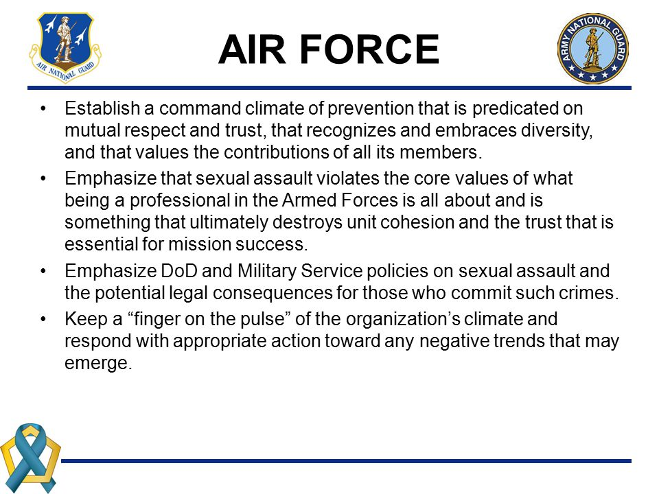AIR FORCE Establish a command climate of prevention that is predicated on mutual respect and trust, that recognizes and embraces diversity, and that v