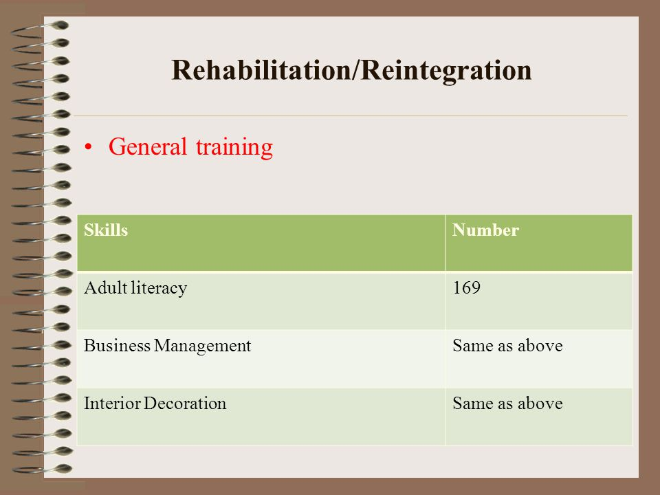 Rehabilitation/Reintegration General training SkillsNumber Adult literacy169 Business ManagementSame as above Interior DecorationSame as above