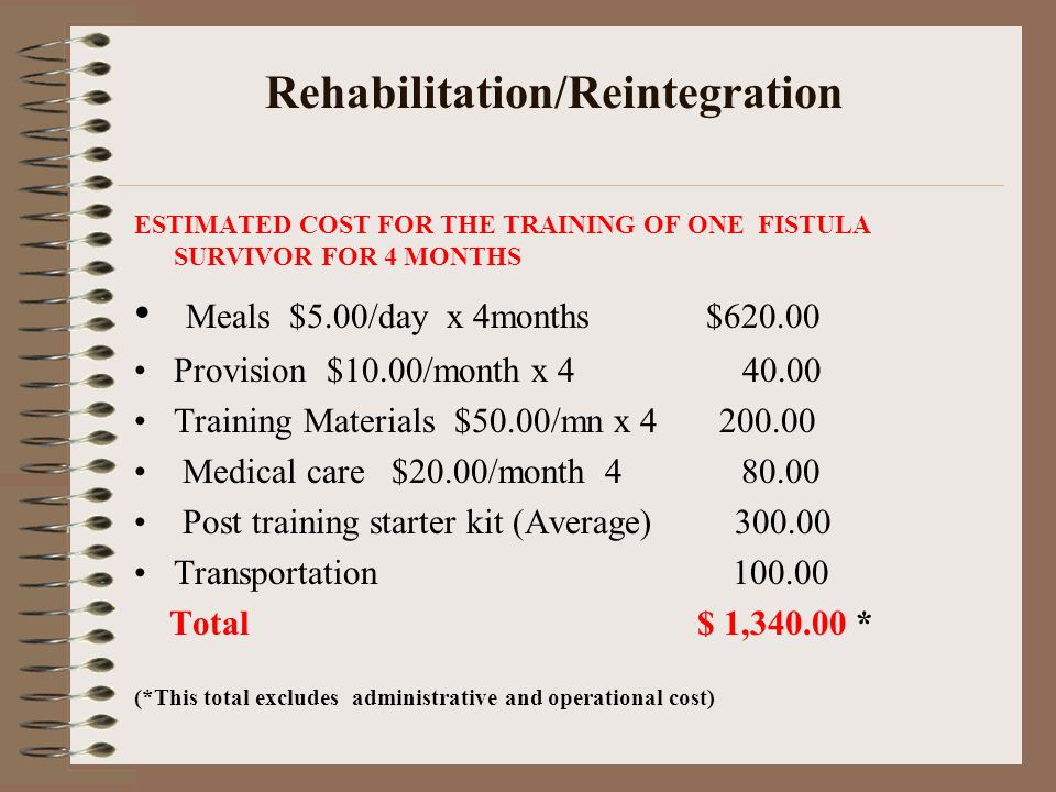 Rehabilitation/Reintegration ESTIMATED COST FOR THE TRAINING OF ONE FISTULA SURVIVOR FOR 4 MONTHS Meals $5.00/day x 4months $620.00 Provision $10.00/month x 4 40.00 Training Materials $50.00/mn x 4 200.00 Medical care $20.00/month 4 80.00 Post training starter kit (Average) 300.00 Transportation 100.00 Total $ 1,340.00 * (*This total excludes administrative and operational cost)