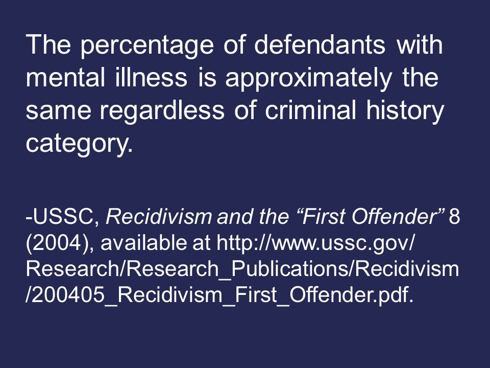 The percentage of defendants with mental illness is approximately the same regardless of criminal history category.
