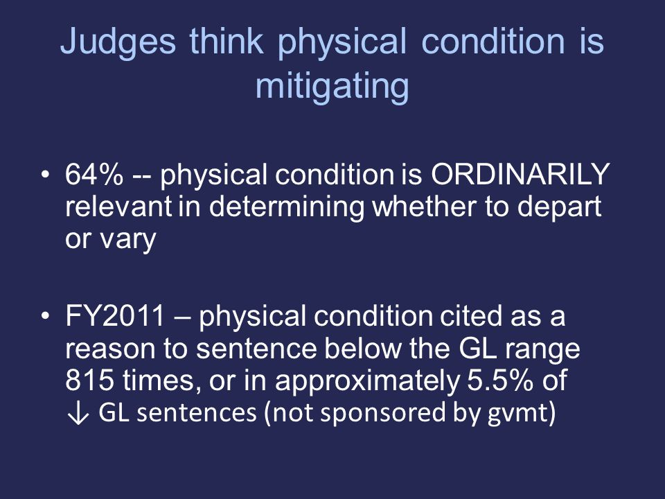 Judges think physical condition is mitigating 64% -- physical condition is ORDINARILY relevant in determining whether to depart or vary FY2011 – physical condition cited as a reason to sentence below the GL range 815 times, or in approximately 5.5% of ↓ GL sentences (not sponsored by gvmt)