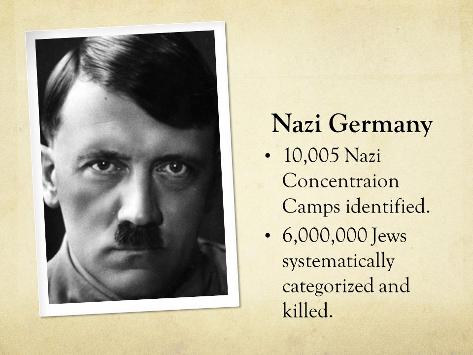 Nazi Germany 10,005 Nazi Concentraion Camps identified. 6,000,000 Jews systematically categorized and killed.