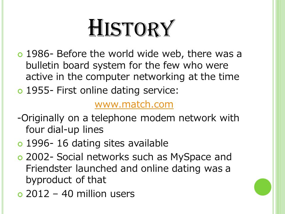 H ISTORY 1986- Before the world wide web, there was a bulletin board system for the few who were active in the computer networking at the time 1955- F