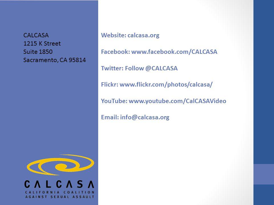 CALCASA 1215 K Street Suite 1850 Sacramento, CA 95814 Website: calcasa.org Facebook: www.facebook.com/CALCASA Twitter: Follow @CALCASA Flickr: www.flickr.com/photos/calcasa/ YouTube: www.youtube.com/CalCASAVideo Email: info@calcasa.org