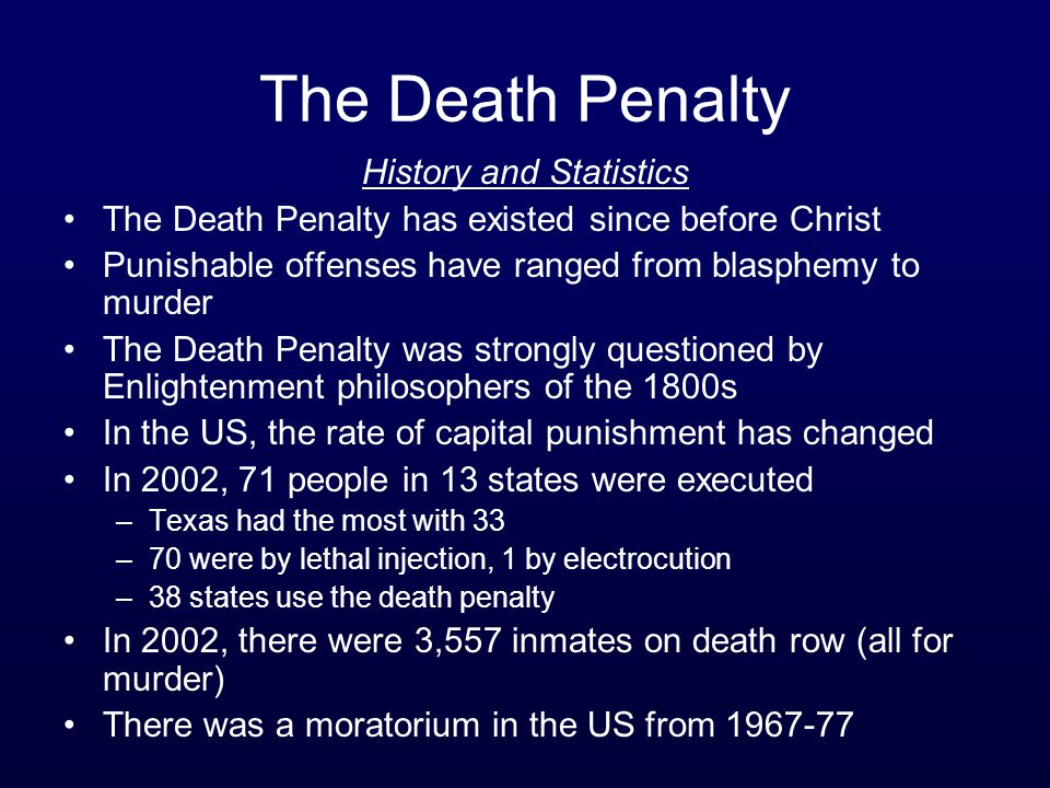 The Death Penalty History and Statistics The Death Penalty has existed since before Christ Punishable offenses have ranged from blasphemy to murder Th