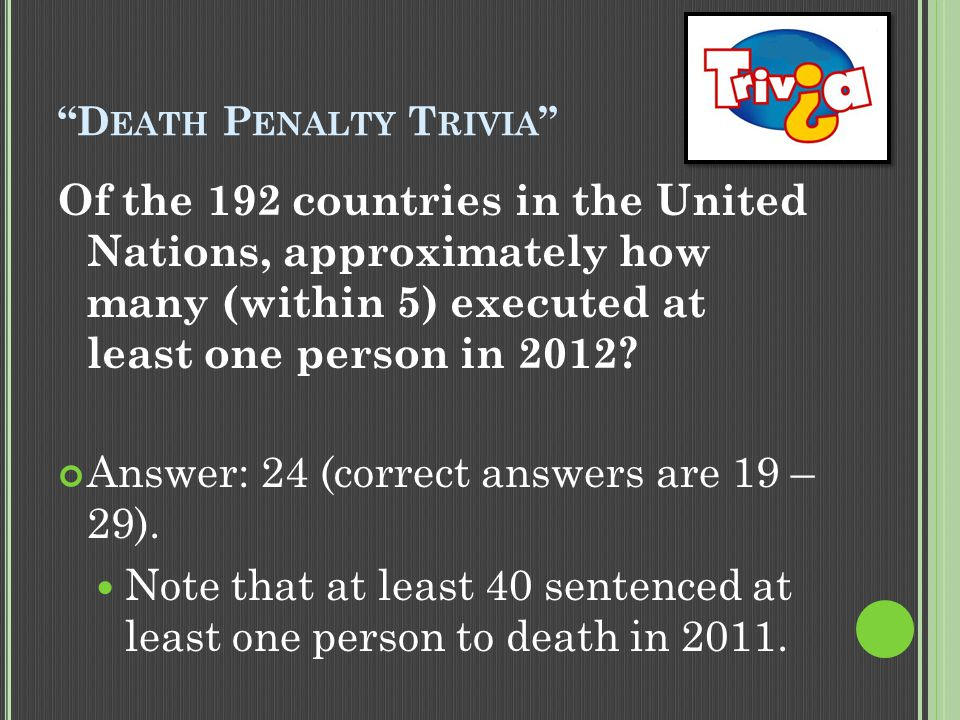 """D EATH P ENALTY T RIVIA "" Of the 192 countries in the United Nations, approximately how many (within 5) executed at least one person in 2012? Answer:"